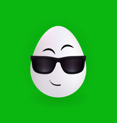 cool glasses egg character with green background vector image