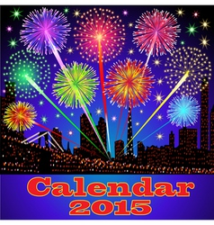 Cover of calendar with fireworks vector
