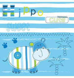 Cute babackground with funny hippo vector