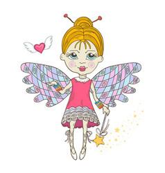 Cute fairy with magic wand vector