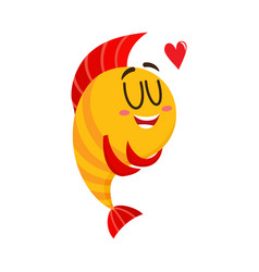 cute funny golden yellow fish character with vector image