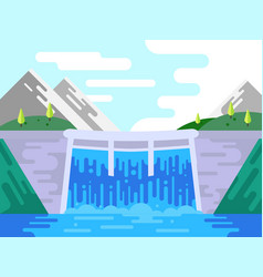 Dam hydro power plant in flat style vector