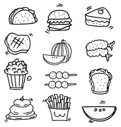 Doodle of food element set vector image