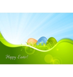 Easter background with wave and sunshine vector image