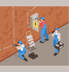 Electrician isometric background vector