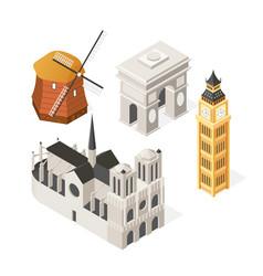 european landmarks - colorful isometric set of vector image