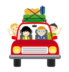 Family goes on vacation traveling by car vector