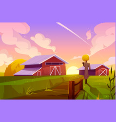 Farm on summer nature rural background with barn vector