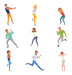Flat set of frightened people in different vector