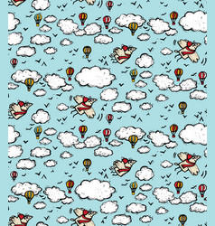 fly bird sky clouds air balloon seamless pattern vector image