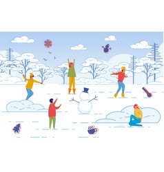 friends spending leisure time together in winter vector image