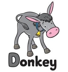 Funny gray donkey Alphabet D vector