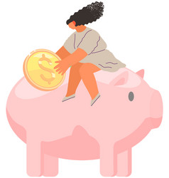 girl is sitting on pig shaped money storage vector image