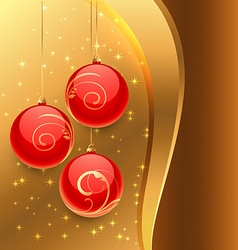 golden background with red christmas balls vector image
