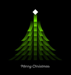 green christmas tree with lights garland vector image