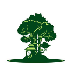 green city or village on tree background vector image