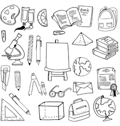 Hand draw element education supplies doodles vector image