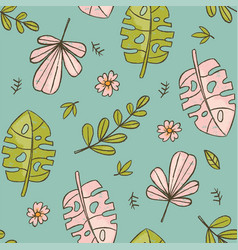 hand drawn leaves green tropical grunge style seam vector image