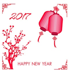 Happy Chinese new year 2017 card is plum blossom vector