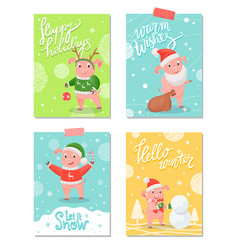 happy holidays new year symbol christmas piglet vector image
