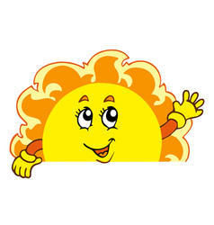 happy waving sun vector image