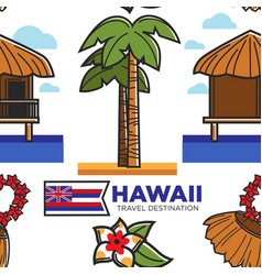 Hawaii travel destination seamless pattern vector