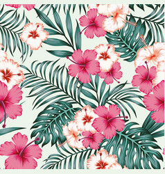 Hibiscus leaves seamless tropical pattern vector
