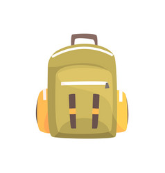 khaki backpack classic styled rucksack vector image
