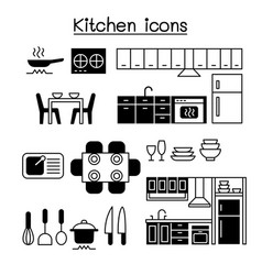 Kitchen icon set graphic design vector