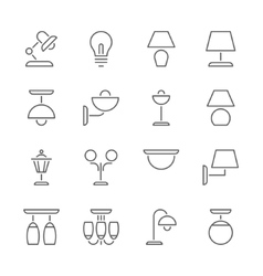 Lamp icons thin line style flat design vector image