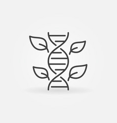 Leaves with dna concept outline icon vector