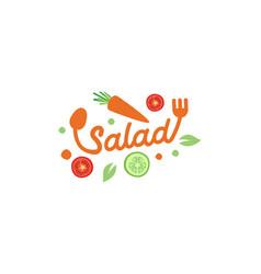 Logo salad restaurant icon vector