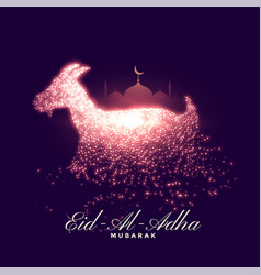 Lovely eid al adha sparkling greeting wishes vector