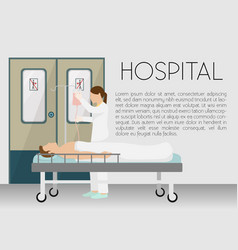 Man in hospital on drip banner vector