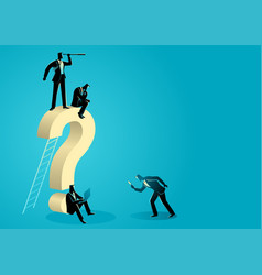 men around a big question mark vector image
