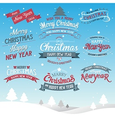 Merry Christmas and Happy New Year typographic bac vector image
