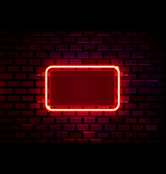 neon frame on a brick colored wall template vector image
