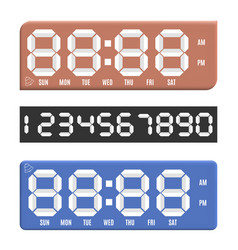 paper numbers with digital clock display vector image