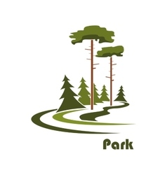 Park logo with pines ans spruces vector image