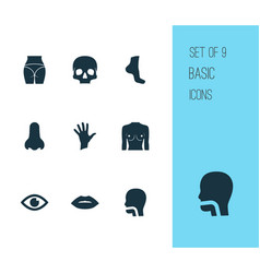 physique icons set with oral cavity butt palm vector image