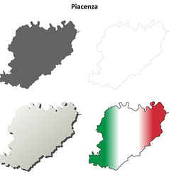 Piacenza blank detailed outline map set vector