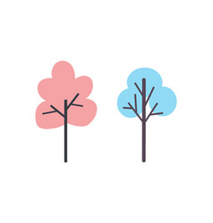pink and blue tree icons silhouettes plants vector image