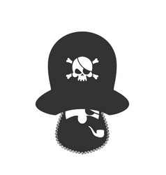 Pirate icon eye patch and smoking pipe filibuster vector
