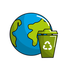 Planet and can trash with recycling symbol vector