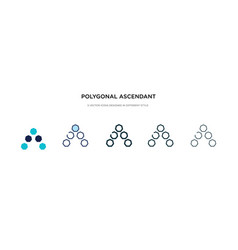 Polygonal ascendant icon in different style two vector