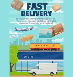 Post office mail and parcels fast delivery vector