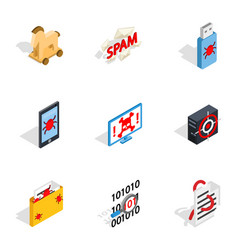 Protection and security icons isometric 3d style vector