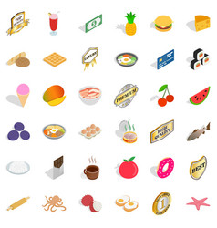 Quality food icons set isometric style vector