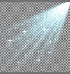Rays of light with stars aqua color vector