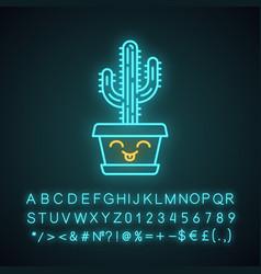 Saguaro cute kawaii neon light character vector